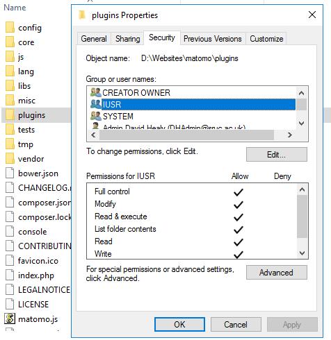 Write access notification despite plugins directory being